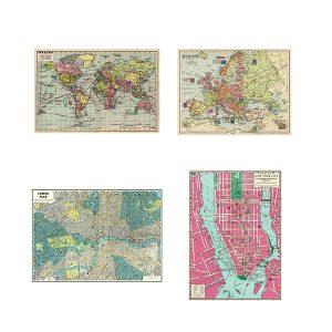 Pack 4 Ahorro Mapas Mundo Europa Londres Nueva York