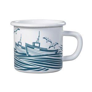 Taza de metal y cerámica