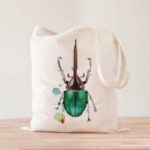 Bolso de TEla Beetle Escarabajo Acuarela