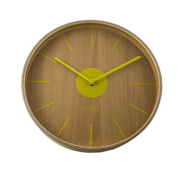 Reloj de madera amarillo anti tic tac tokio 30 for Fisura lamparas