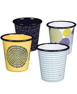 Set de 4 vasos de esmalte cerámico