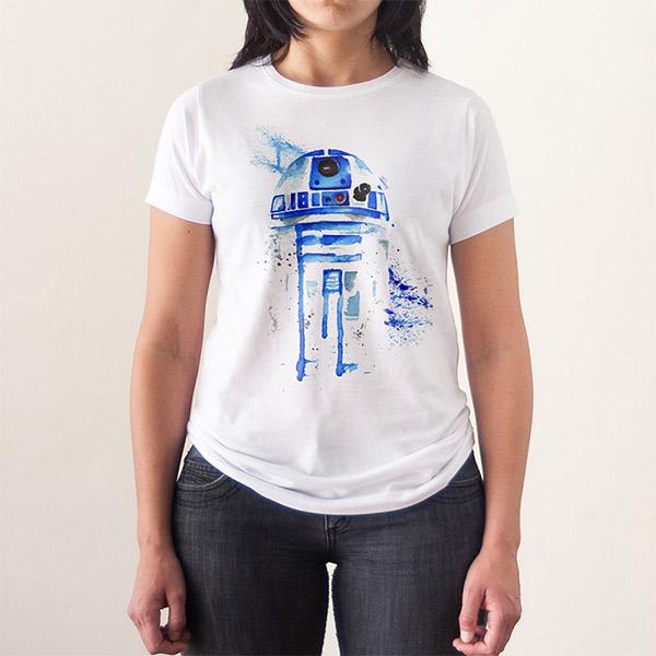 Wars MujerCamisetas Camiseta Acuarela Star R2d2 Para Frikis rWEoCxedBQ