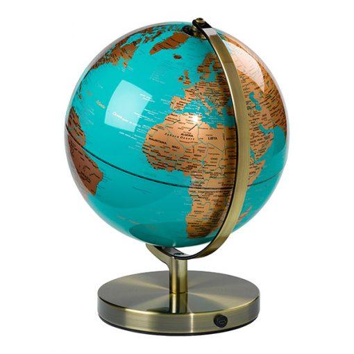 Bola del Mundo Con Luz Turquesa