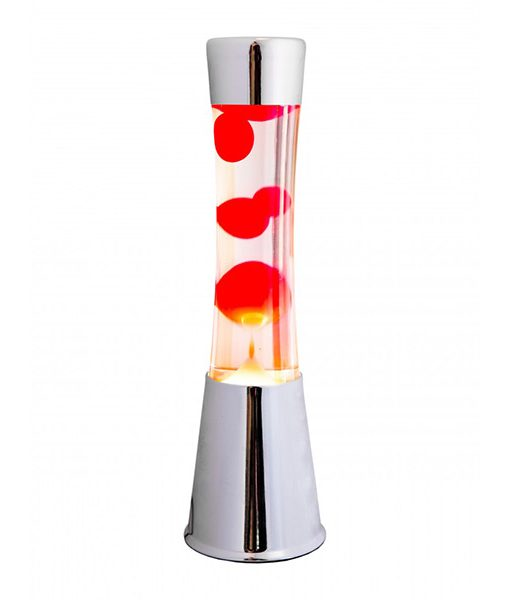 Lámpara de Lava Roja Cromada