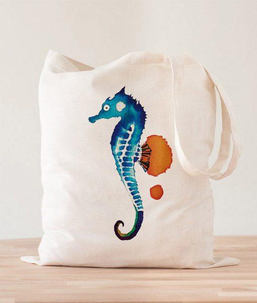 Tote Bag Caballito de Mar Acuarelas