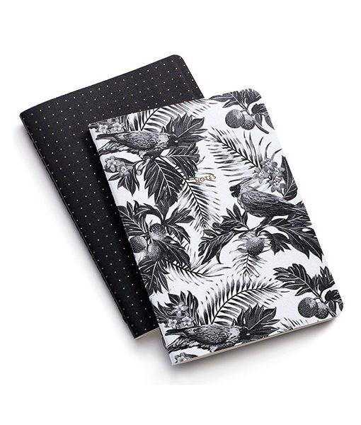 Pack Cuadernos Blanco y Negro Tropical Malla de Puntos