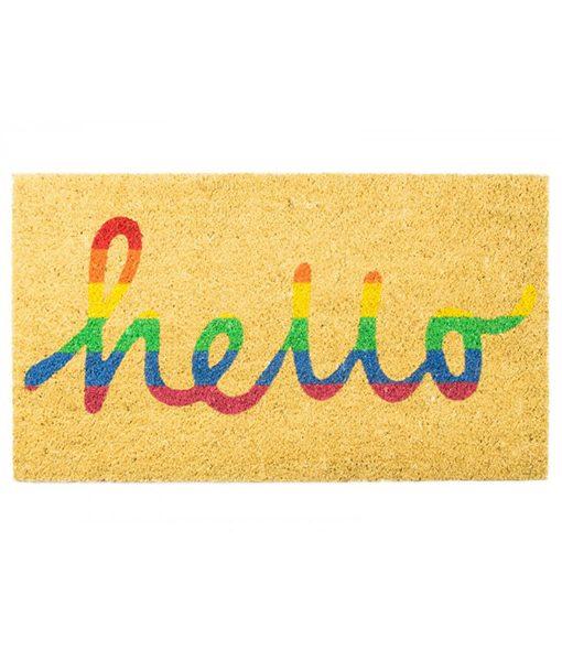 Felpudo Hello arcoiris