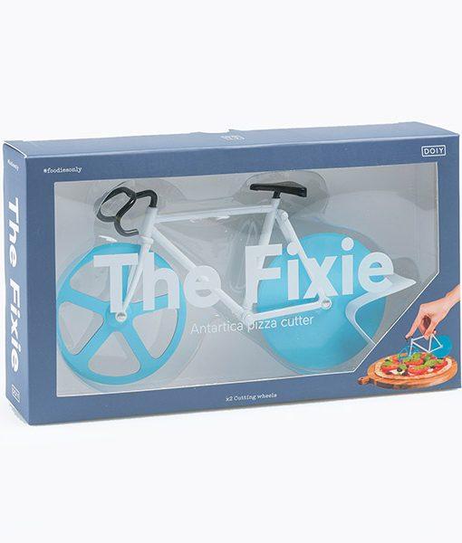 Bici Cortapizzas Azul y Blanca Fixie Doiy