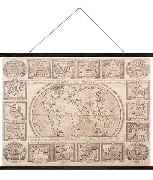 Póster Mapa del Mundo de Tela Vintage
