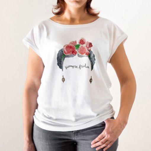 Camiseta Siempre Frida Acuarelas Corte Recto