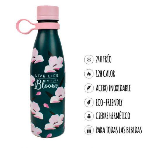 Botella Termo Flores Acero Inoxidable